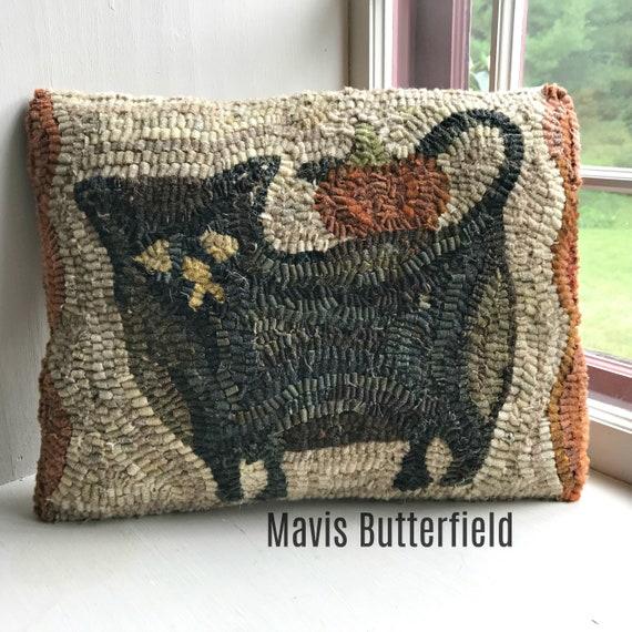Primitive Folk Art Wool Hooked Rug PILLOW - Black Cat and Pumpkin