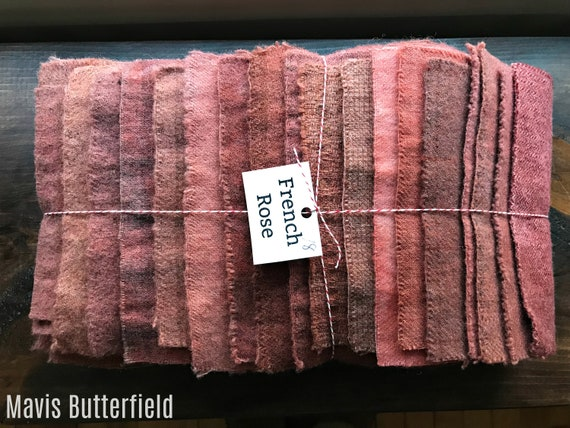 Hand Dyed Wool Fabric, 18 French Rose Fat Sixteenths {1/16} for Primitive Rug Hooking