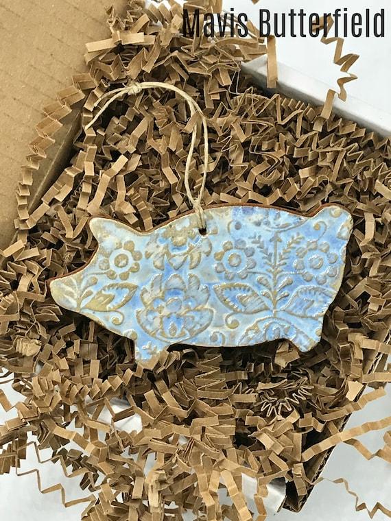 Rustic Pig Redware Pottery Ornament ~ Ocean Blue