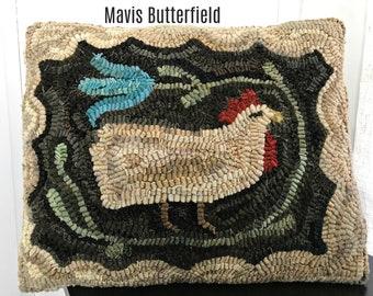 American Primitive Folk Art ~ Wool Hooked Rug Chicken Pillow ~ Martha's Favorite Hen