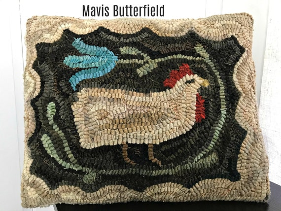 American Primitive Folk Art ~ Wool Hooked Rug Chicken Pillow ~ Martha's Favorite Hen