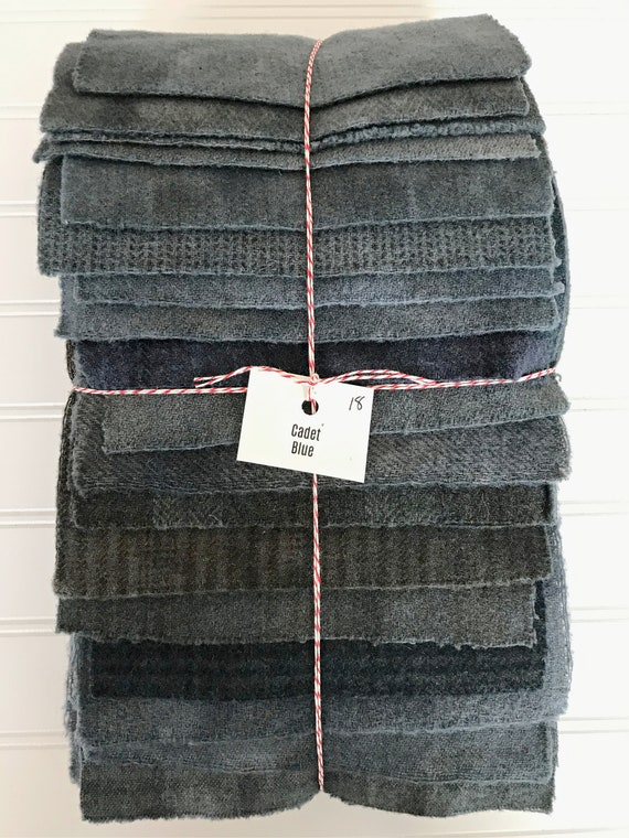 Hand Dyed Wool Fabric, 18 Cadet Blue Fat 1/16 Sixteenth for Primitive Rug Hooking