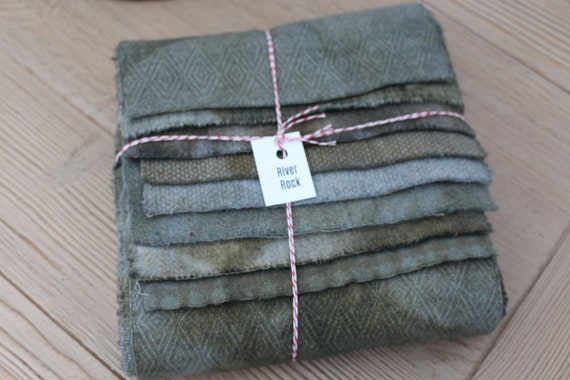 Hand Dyed Wool Fabric, 8 River Rock Fat 1/16 Sixteenths for Primitive Rug Hooking