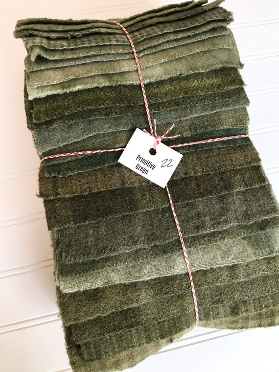 Hand Dyed Wool Fabric, 22 Primitive Green Fat 1/16 Sixteenth for Primitive Rug Hooking