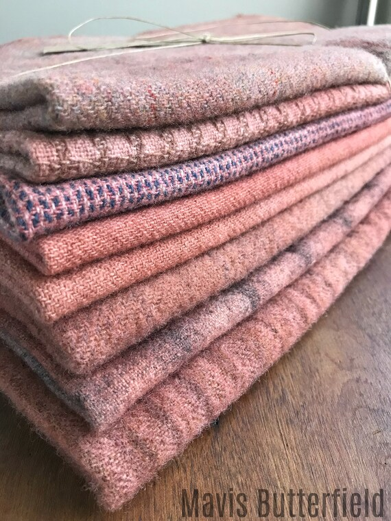 Hand Dyed Wool Fabric, 8 Primitive Pink Fat 1/4 {Quarter} Yards {2 yards Total} for Primitive Rug Hooking