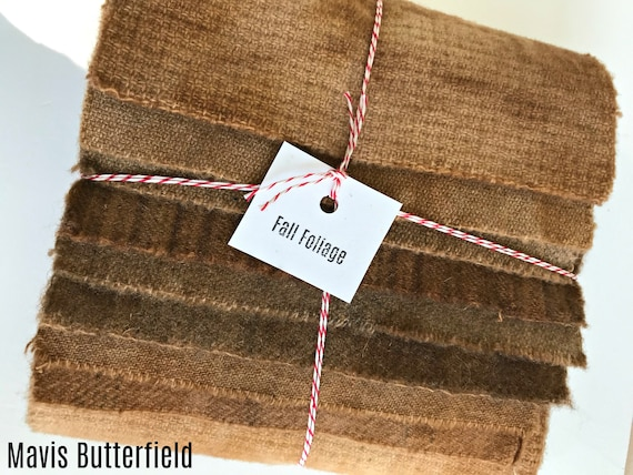Hand Dyed Wool Fabric, 8 Fall Foliage Brown Fat 1/16 Sixteenth for Primitive Rug Hooking
