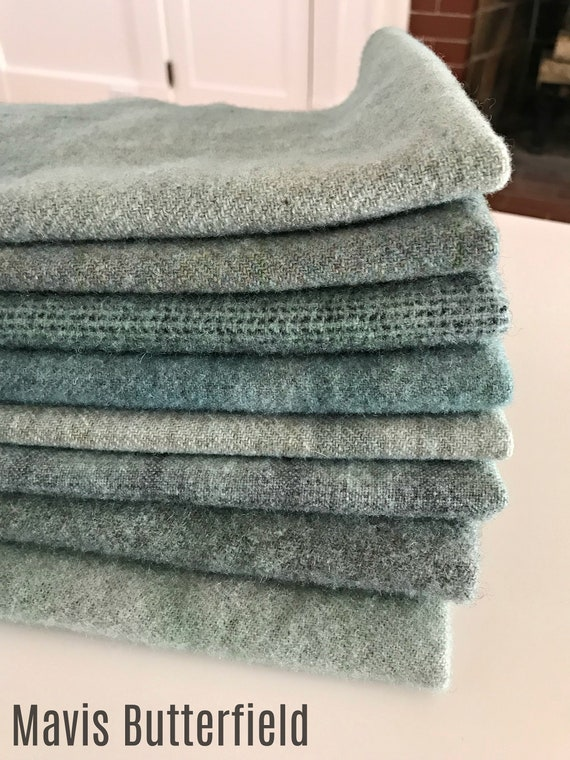Hand Dyed Wool Fabric, 8 Sea Glass Blue Blue Fat Eighths 1/8 Yard for Primitive Rug Hooking