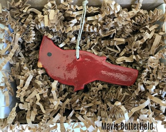 Primitive Folk Art Cardinal Bird Redware Pottery Ornament