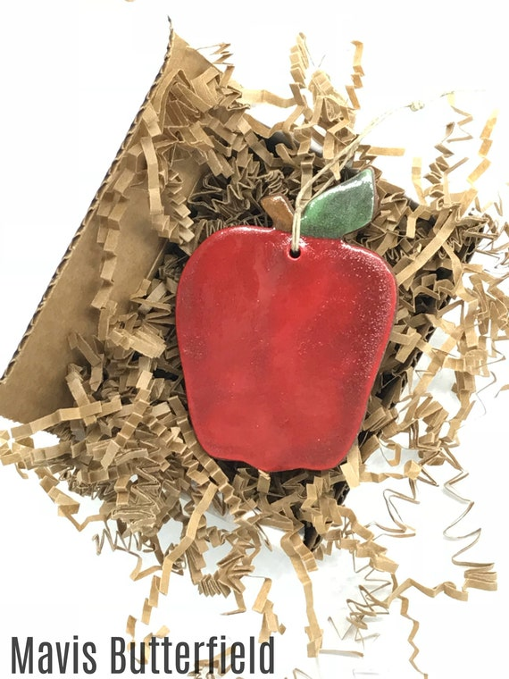 Rustic Red Apple Redware Pottery Ornament
