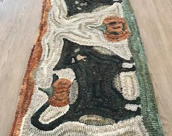 Primitive Folk Art Wool Hooked Rug - 2 Black Cats and Pumpkin Rug
