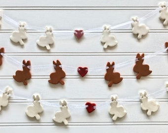 Handmade White Bunnies with Pink Heart Pottery Garland ~ Banner ~ Perfect for Easter
