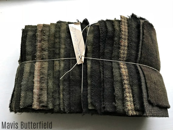 Hand Dyed Wool Fabric, 23 Brown Black Fat 1/16 Sixteenth for Primitive Rug Hooking