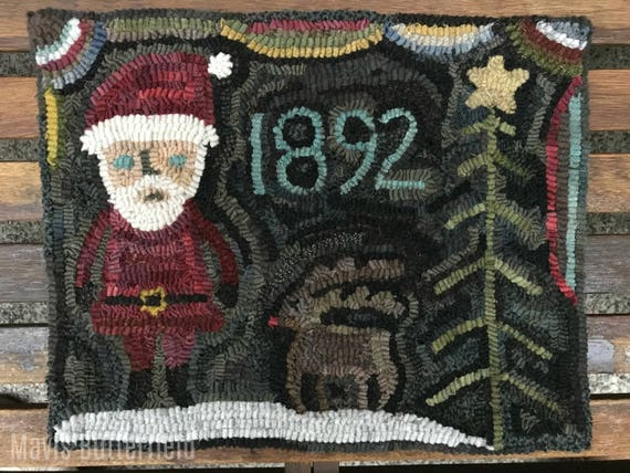 Christmas Rug Hooking Pattern Santa and Rudy 1892 on Linen or Paper