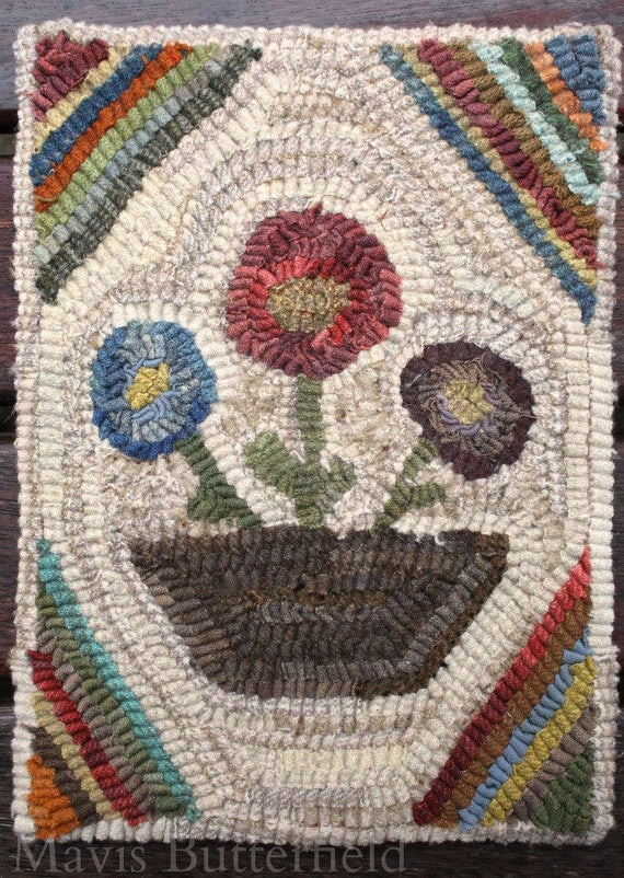 Primitive Wool Folk Art Hooked Rug Penny Basket