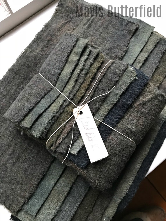 Hand Dyed Wool Fabric, 8 Lead Black/Grey Fat 1/16 Sixteenth for Primitive Rug Hooking