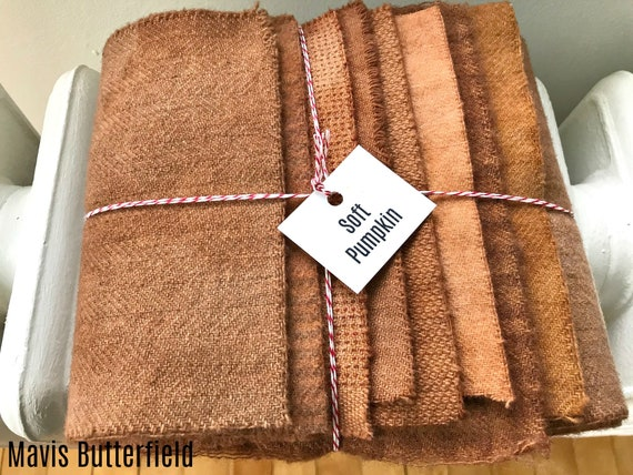Hand Dyed Wool Fabric, 8 Soft Pumpkin Fat 1/16 Sixteenth for Primitive Rug Hooking