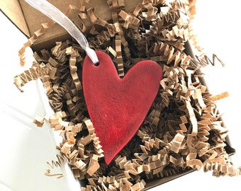 Rustic Simple Red Heart Redware Pottery Ornament
