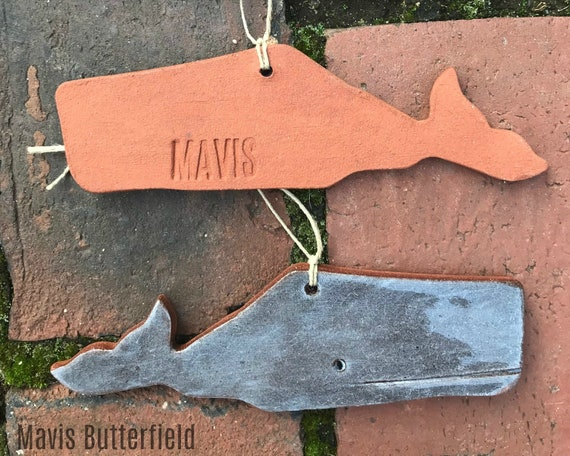 Rustic New England Whale, Nantucket Folk Art Redware Pottery Ornament ~ Deep Periwinkle