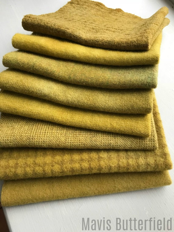Hand Dyed Wool Fabric, 8 Old Mustard Fat Eighths for Primitive Rug Hooking