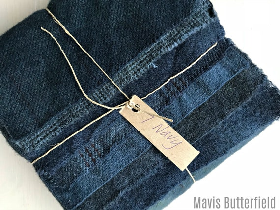 Hand Dyed Wool Fabric, 7 Navy Fat 1/16 Sixteenth for Primitive Rug Hooking