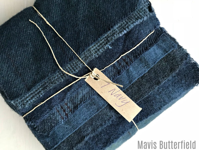7 Navy Fat 116 Sixteenth for Primitive Rug Hooking Hand Dyed Wool Fabric