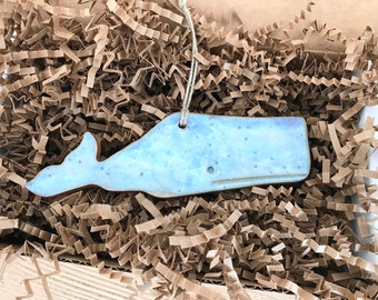 Rustic New England Whale, Nantucket Folk Art Redware Pottery Ornament ~ Nantucket Blue