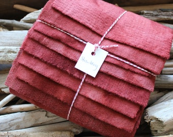 Hand Dyed Wool Fabric, 8 Strawberry Red Jam Red Fat Sixteenths {1/16} for Primitive Rug Hooking
