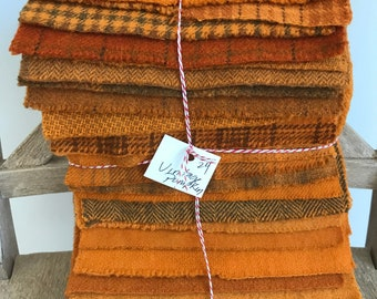 Hand Dyed Wool Fabric, 24 Vintage Pumpkin Fat 1/16 Sixteenth for Primitive Rug Hooking