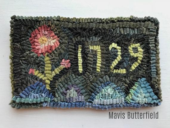 Primitive Folk Art Hooked Rug 1729 Sampler