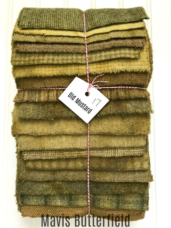 Hand Dyed Wool Fabric, 17 Old Mustard Fat 1/16 Sixteenth for Primitive Rug Hooking