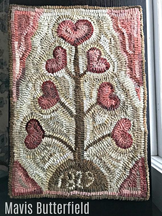 Primitive Folk Art Wool 1829 Valentine Heart Tree Hooked Rug ~ Early Style ~