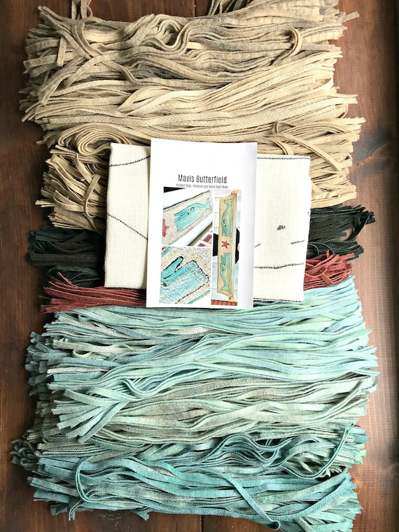 RUG HOOKING KIT - Double Nantucket Whale Runner ~ on Linen with Hand Dyed Wool