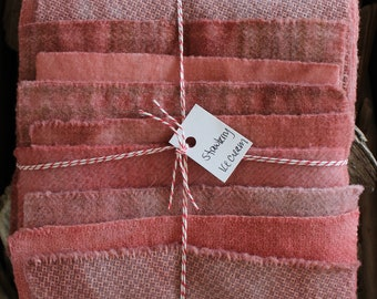 Hand Dyed Wool Fabric, 8 Strawberry Ice Cream Pink Fat 1/16 Sixteenth for Primitive Rug Hooking