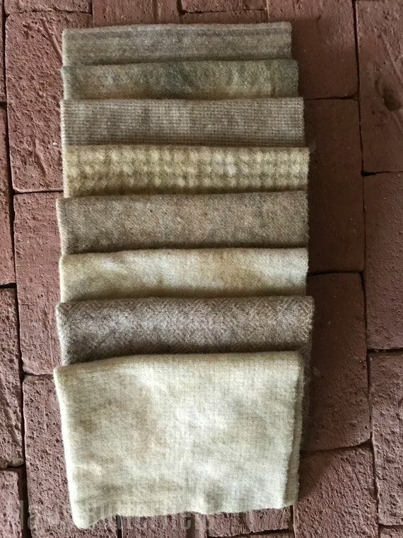 Hand Dyed Wool Fabric, 8 Clam Shell Fat 1/8 Eighth for Primitive Rug Hooking
