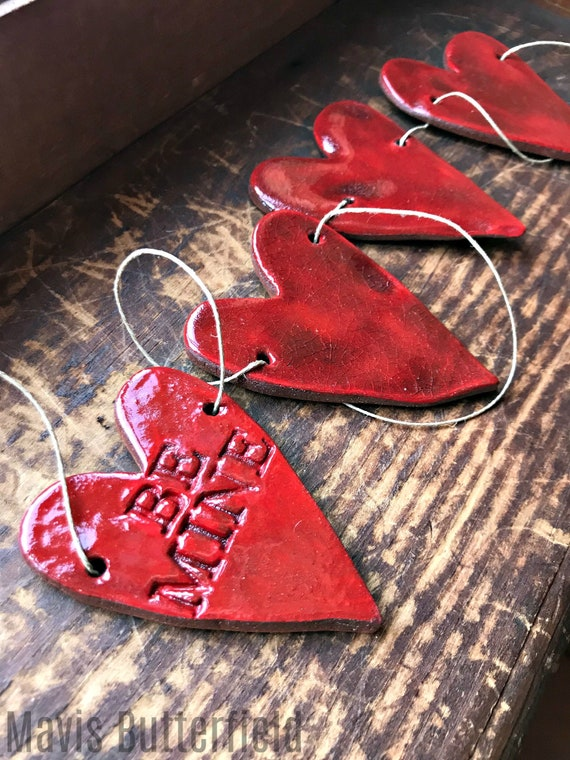 Rustic Redware Pottery ~ BE MINE Red Hearts Banner ~ Garland ~ Perfect for Valentine's Day or a Birthday