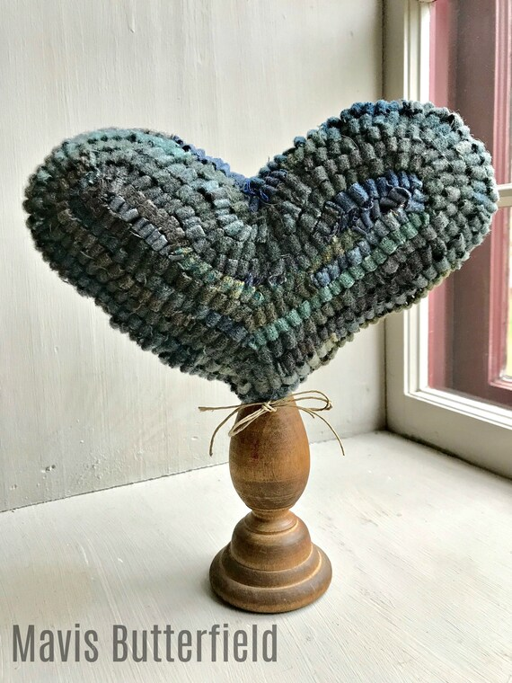 Primitive Wool Hooked Rug Heart Make Do ~ Blue