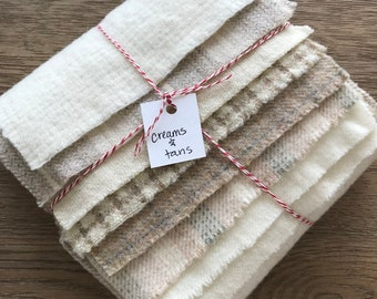 Wool Fabric, 8 Creams and Tans Fat 1/16 Sixteenth for Primitive Rug Hooking