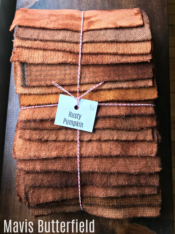 Hand Dyed Wool Fabric, 16 Rusty Pumpkin Fat 1/16 Sixteenth for Primitive Rug Hooking