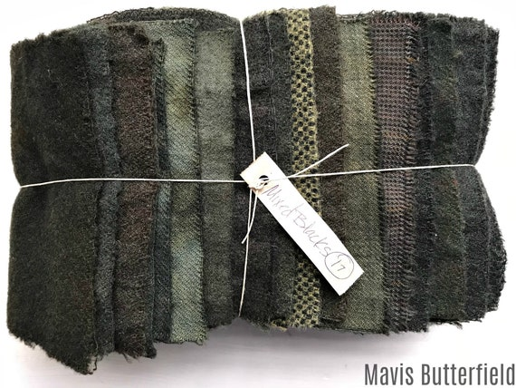Hand Dyed Wool Fabric, 17 Mixed Black Fat 1/16 Sixteenth Yards for Primitive Rug Hooking