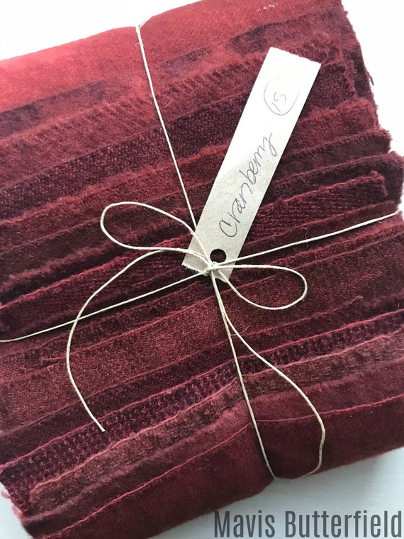 Hand Dyed Wool Fabric, 15 Cranberry Red Fat Sixteenths {1/16} for Primitive Rug Hooking