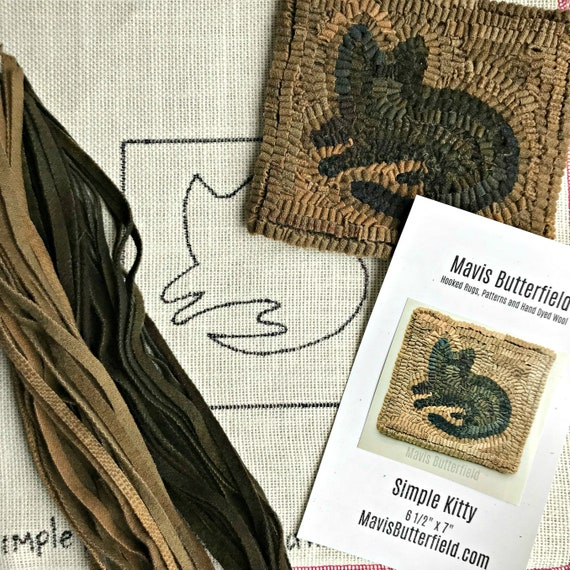 RUG HOOKING KIT for Beginners - Simple Kitty - on Linen with Hand Dyed Wool