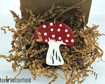 Rustic Mushroom Redware Pottery Ornament