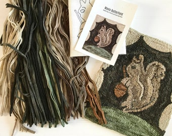 RUG HOOKING KIT - Old Mr. Squirrel ~ on Linen with Hand Dyed Wool
