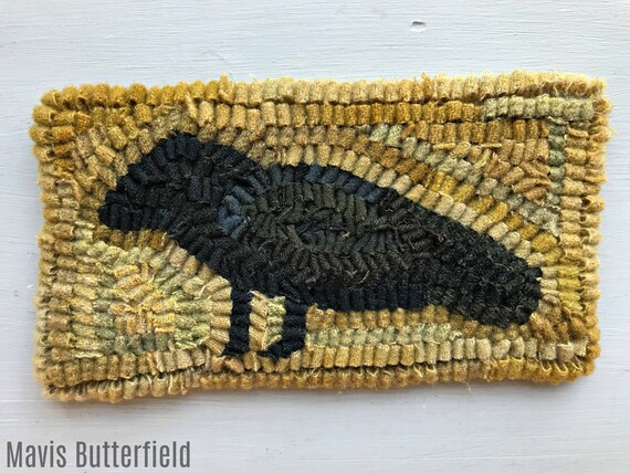 Rug Hooking Pattern Old Crow on Linen