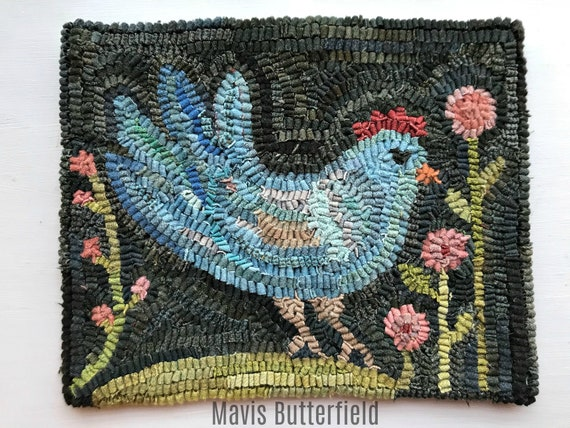 Folk Art Primitive Wool Hooked Rug Old Blue Chicken with Pink Flowers