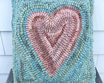 Folk Art Primitive Wool Hooked Rug Pillow ~ Primitive Pink Heart ~
