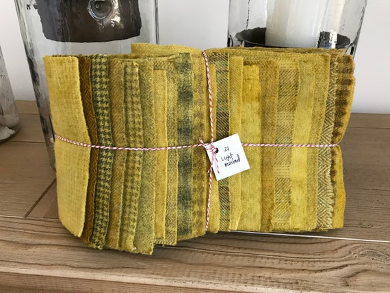 Hand Dyed Wool Fabric, 21 Light Mustard Fat 1/16 Sixteenth for Primitive Rug Hooking