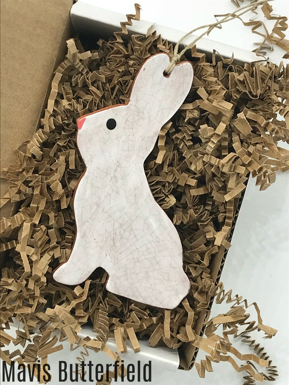 White Chocolate Easter Bunny  Redware Pottery Ornament
