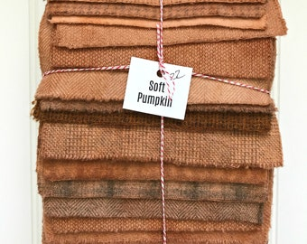 Hand Dyed Wool Fabric, 22 Soft Pumpkin Fat 1/16 Sixteenth for Primitive Rug Hooking