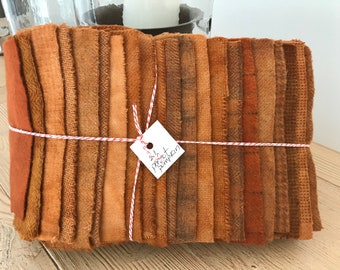 Hand Dyed Wool Fabric, 21 Perfect Pumpkin Fat 1/16 Sixteenth for Primitive Rug Hooking